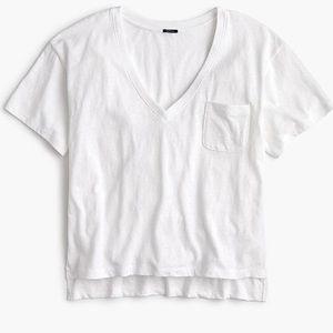 J crew slub cotton vneck white pocket crop tee